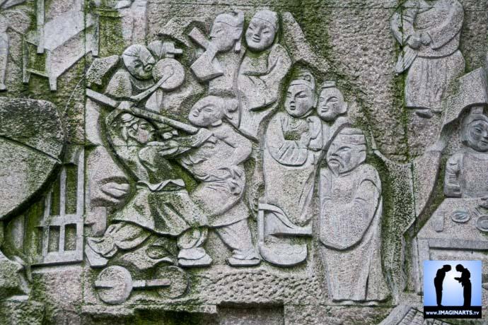 gravure sur mur en chine guerriers