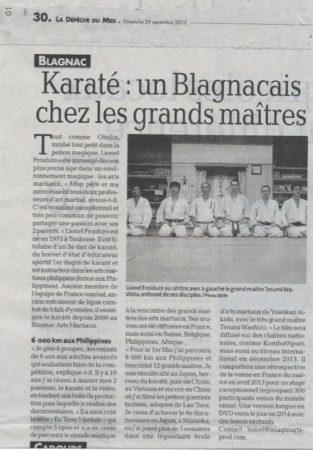 article de presse sur Lionel Froidure