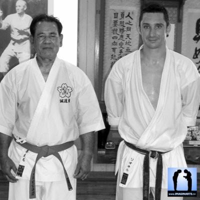 Sensei Kiyuna et Lionel Froidure à Okinawa