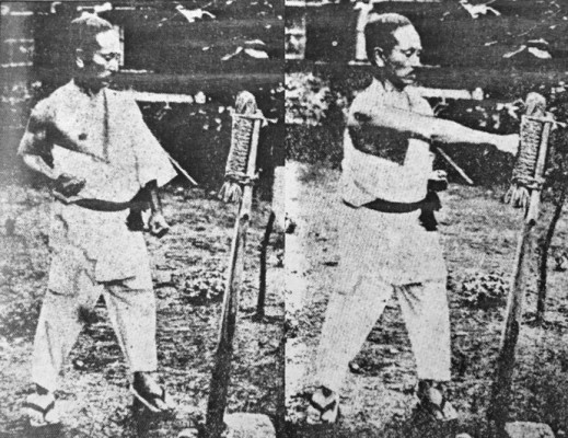 frapper au makiwara - sensei Funakoshi karaté
