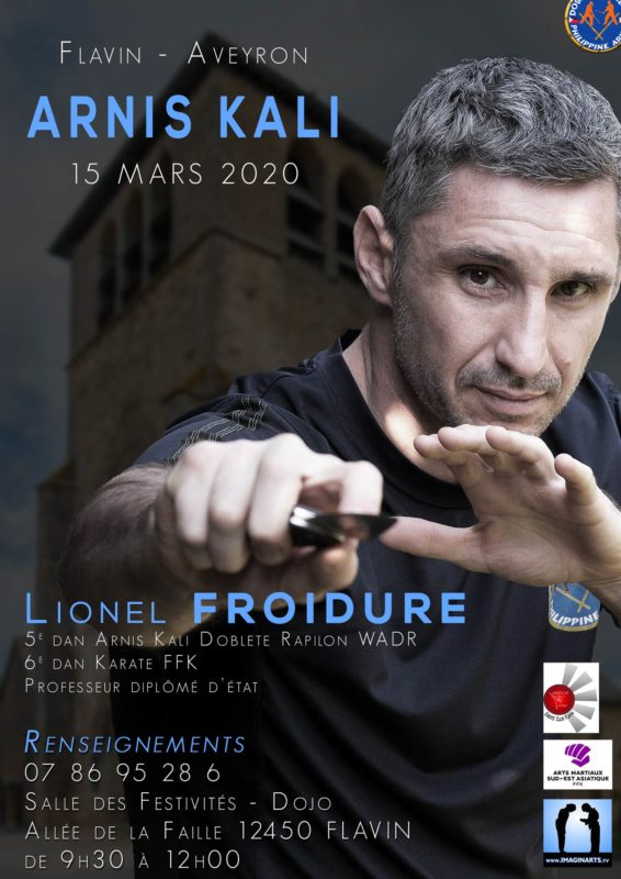 stage Arnis Kali en Aveyron Flavin en mars 2020 avec Lionel Froidure